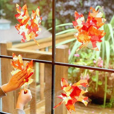 Kid fall craft - leaf suncatchers
