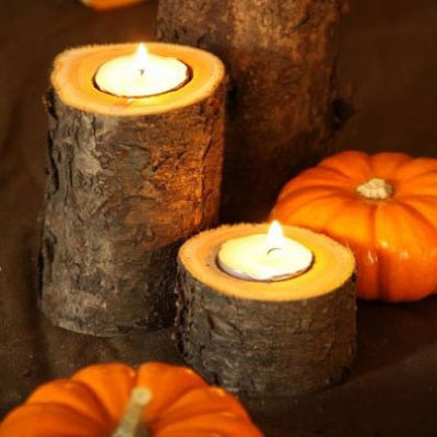 DIY fall candle holders from tree branches