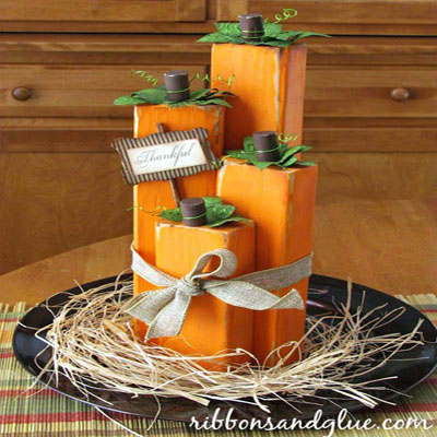 DIY Wood block pumpkins - fall decor