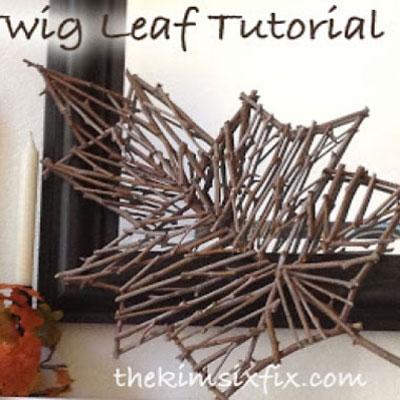 Rustic twig leaf - easy fall decor from twigs