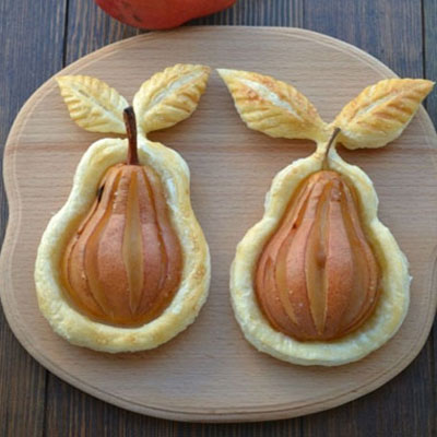 Beautiful baked pear puff pastry dessert easily