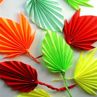 Folded paper autumn leaves - easy fall kids craft
