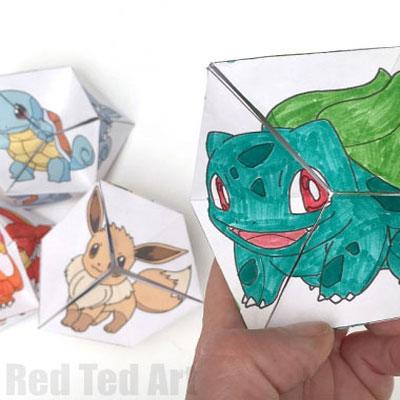 DIY Colorable Pokemon evolution caleidocycles