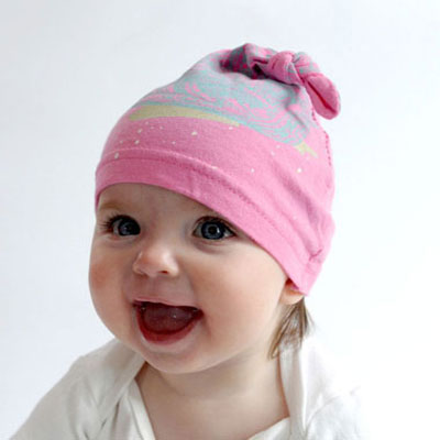 Upcycled knotted baby hat