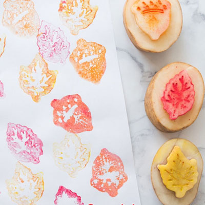 Fall leaf potato stamp - fall craft for kids