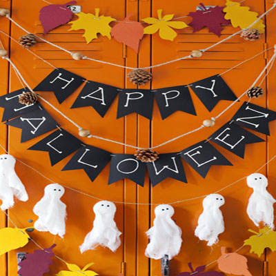 4 different Halloween and fall garlands