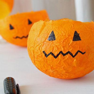 Easy paper pumpkin lanterns with paper mache