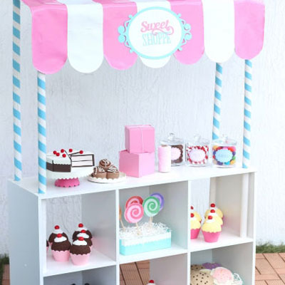 DIY pretend play sweet shop from IKEA expedit helf