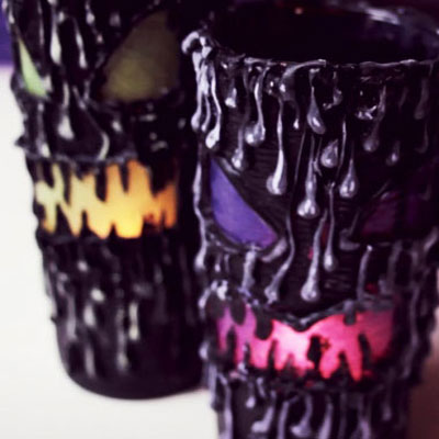 DIY scarry Halloween candle holders with a glue gun