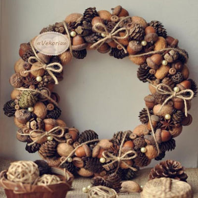 Gorgeous fall wreath with walnuts pinecones and acorns