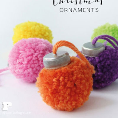 Pom pom christmas ornaments with plastic bottle caps