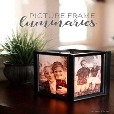 Picture frame luminaries - sweet memories as decors