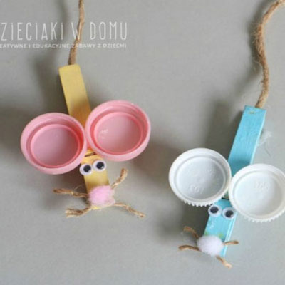 Clothespin mouse with plastic bottle cap ears - easy kids craft