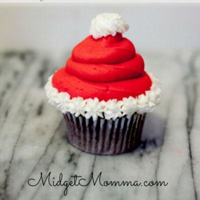 Santa hat cupcake with homemade icing