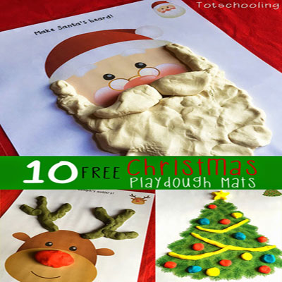 Free printable christmas Playdough mats for kids