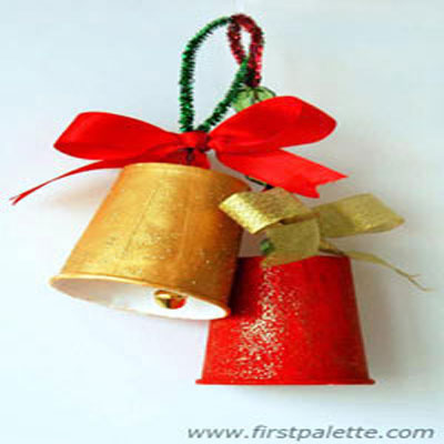 Christmas bells from paper (or plastic) cups