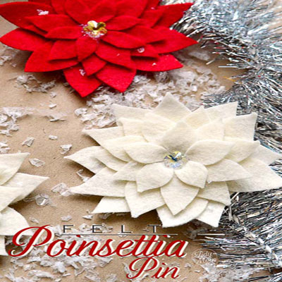 Felt poinsettia flowers - flower pins