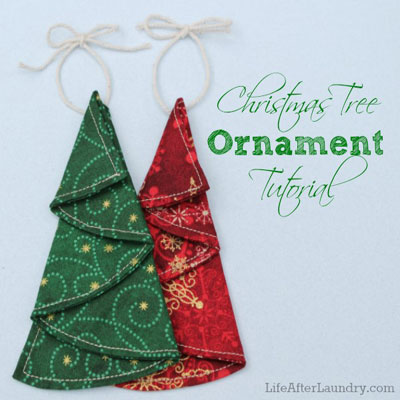 Easy sewn Christmas tree ornaments with simple circles
