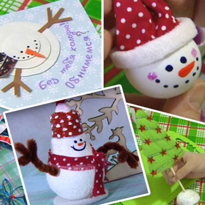Easy Christmas crafts (styrofoam ball and lightbulb snowman)