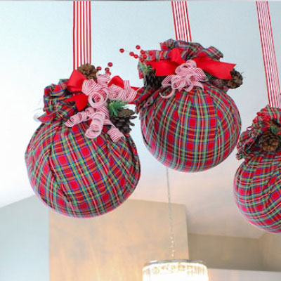 DIY Giant plastic ball ornaments with textiles in seconds