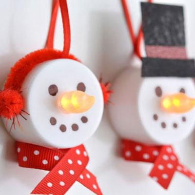 DIY snowman led tea light Christmas ornaments