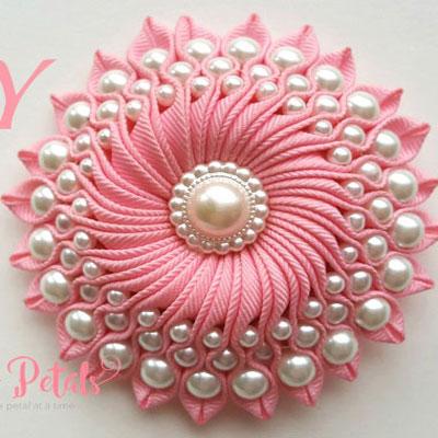 DIY Ribbon flower with beads - grosgrain flower - kanzashi