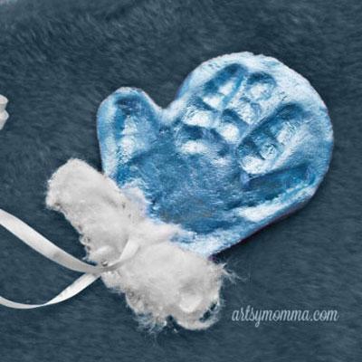 Salt dough mitten ornament with baby handprints - keepsake