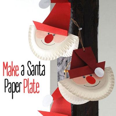 Paper plate Santa - easy Christmas craft for kids