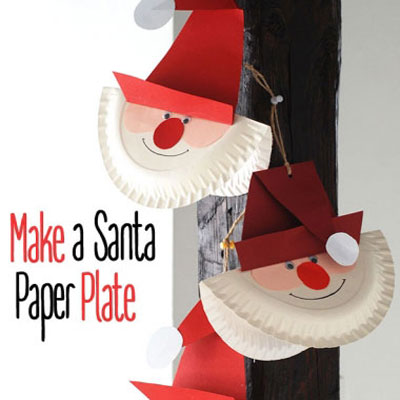 Paper plate Santa - easy Christmas craft for kids