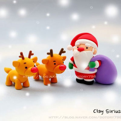 Adorable plomer clay Santa with his reindeers (step-by-step tutorial)