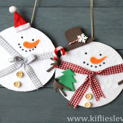 Adorable snowmen from a cd and felt - recycling craft