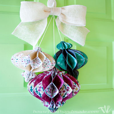 Dimensional honeycomb paper Christmas tree ornaments or wreath