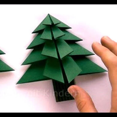 Origami Christmas trees - ornaments with paper folding