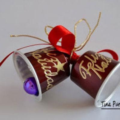Christmas bells from Nespressu capsules (coffee pods)