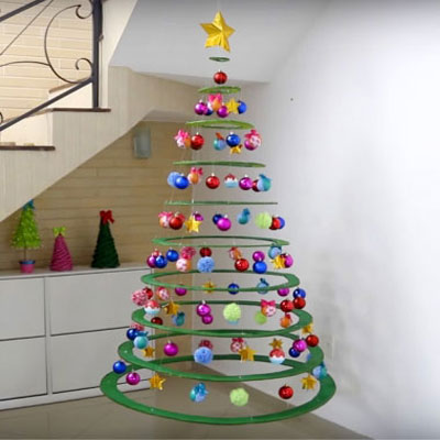 Special floating Christmas tree from cardboard