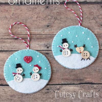 Adorable button and felt snowman ornaments