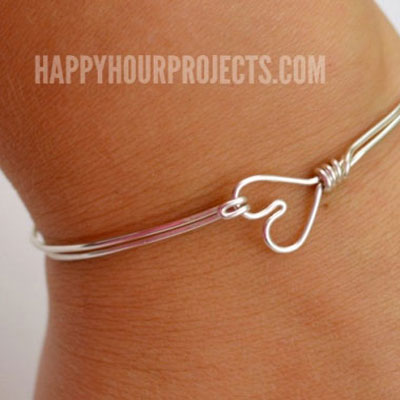 Easy DIY heart clasp wire wrapped bangle bracelet