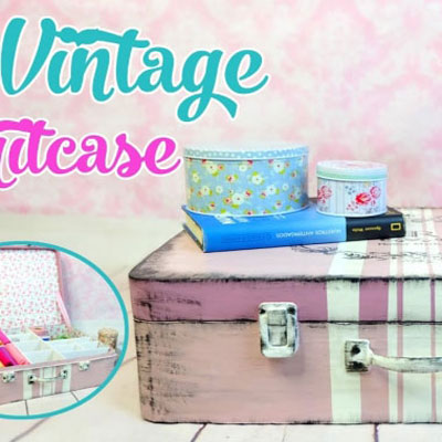 DIY vintage suitcase from cardboard - cardboard box storage