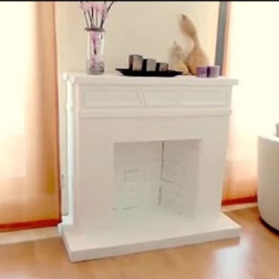 DIY cardboard fireplace - gorgeous winter or Christmas decor