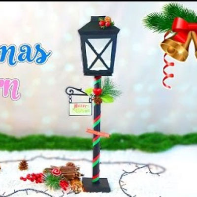 DIY Christmas street lamps (lamp posts) fom paper (free template)