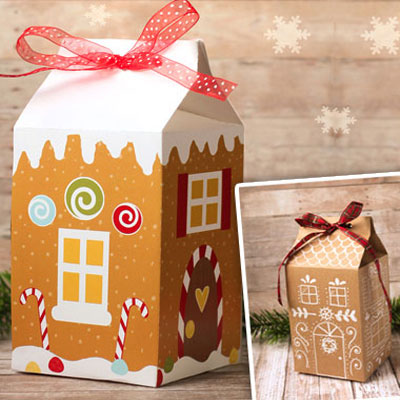 Gingerbread house Christmas treat boxes (free printables)