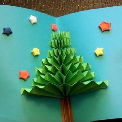 DIY easy 3D Christmas tree pop up gift card