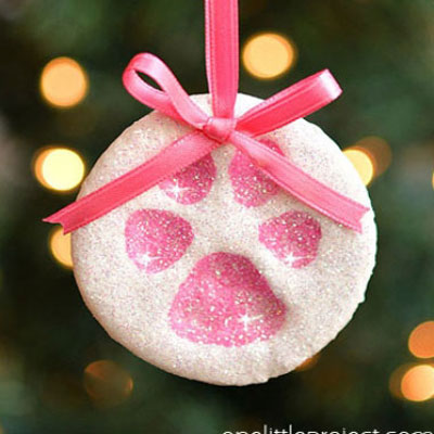 Paw print salt dough ornaments