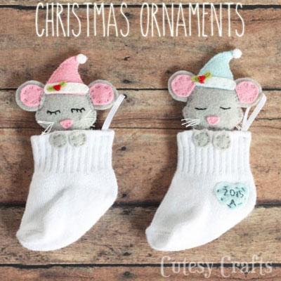 DIY baby sock Christmas tree ornaments with sleepy mice