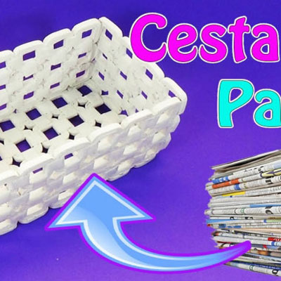 Paper baskets from newspapers - paper weaving