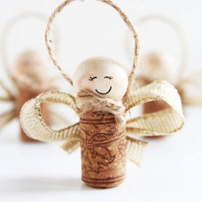 Wine cork angels - Christmas tree ornament with wine cork