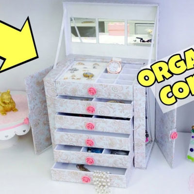 Jewelry orgainzer box from cardboard - upcycling and organizing