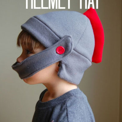 Fleece knight helmet - winter hat (or knight costume )