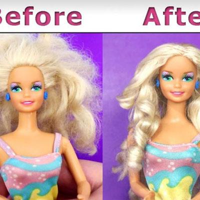 Barbie doll hair repair tutorial - easy and quick method
