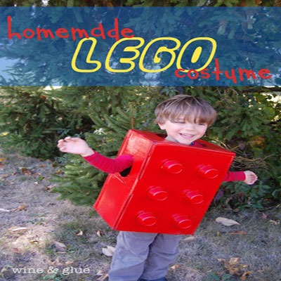 Easy quick last-minute lego halloween costume for kids